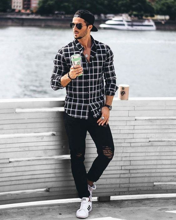 Black Shirt Combination Pants | Black Shirt Combination Men | Black Checked Shirt With Distress Denim Jeans