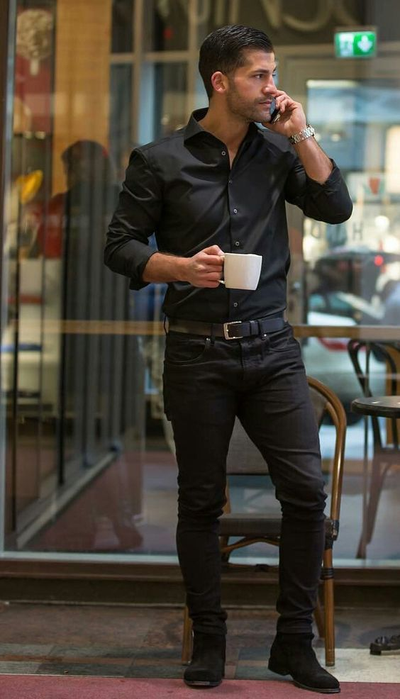 Black Shirt Combination Pants | Black Shirt With Black Pants Combination