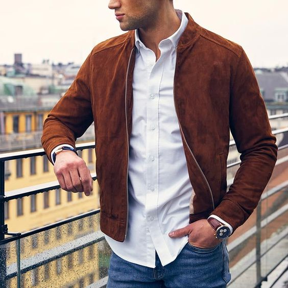 leather brown suede jacket for men