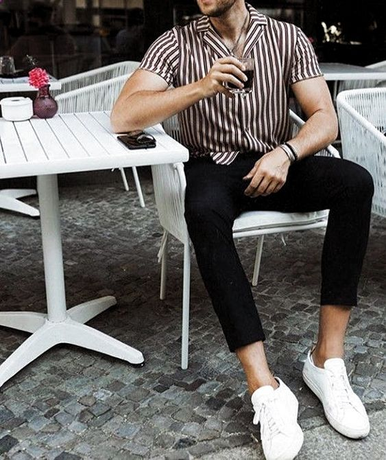 Brown and black vertical striped shirt for men