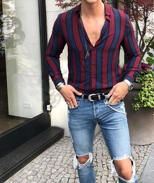 Red and blue vertical striped shirt for men