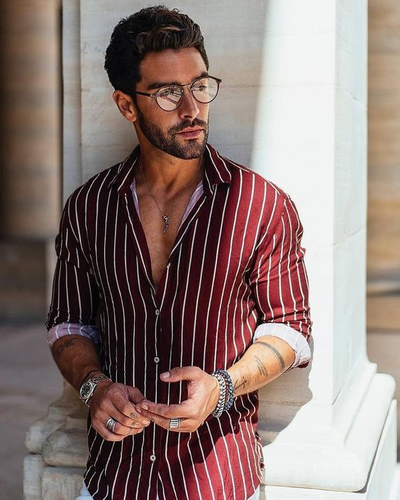 Redshirt with white vertical striped slim fit shirt