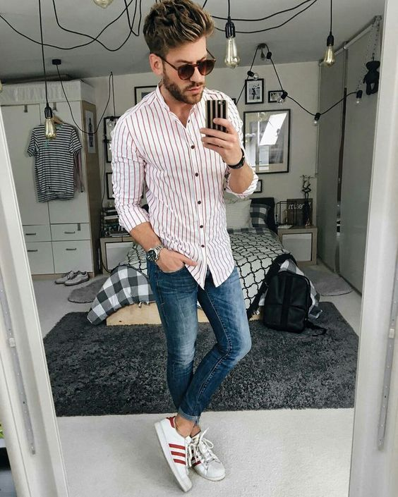 White shirt with red vertical striped shirt