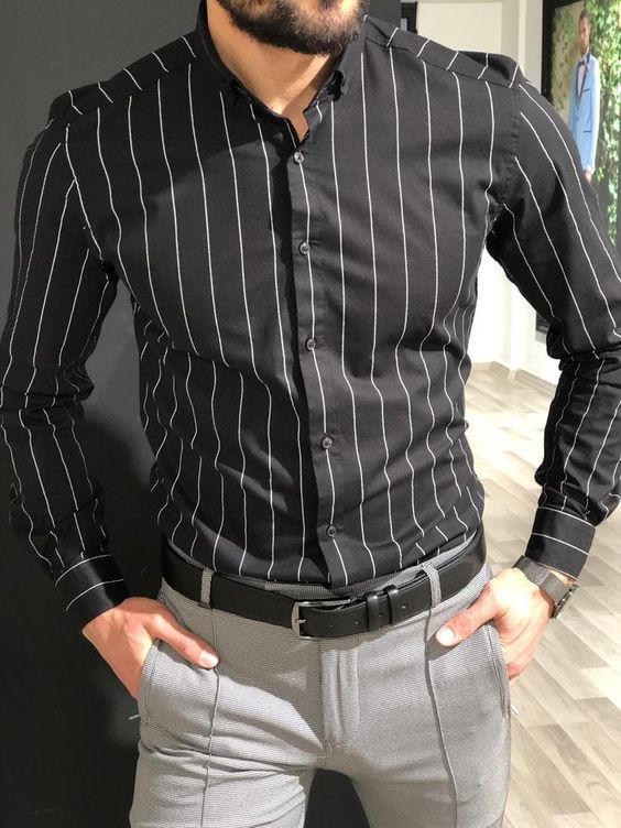 Slim Fit Striped Shirt  | Black and White Vertical Striped Shirt For men