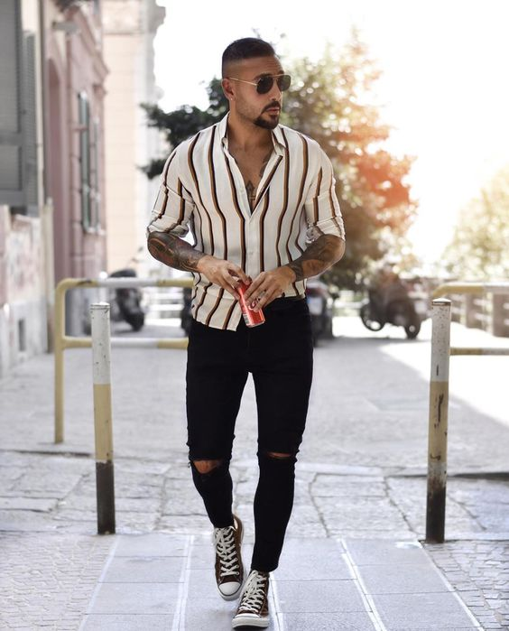 White shirt and brown vertical striped slim fit shirt for men