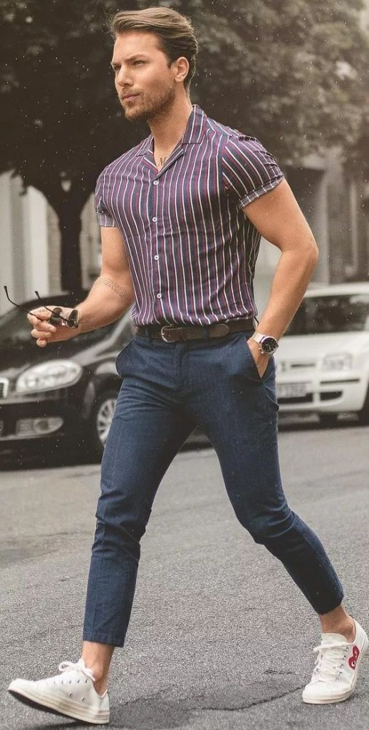 half sleeves vertical striped maroon shirt for men