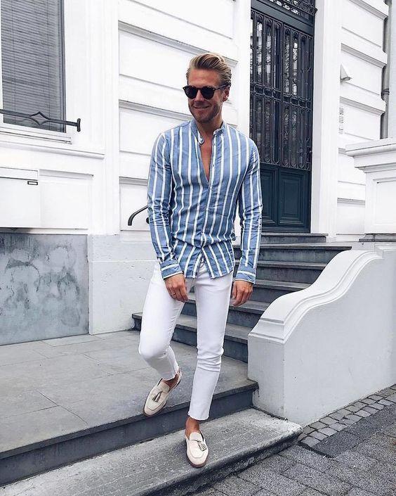 Slim Fit Striped Shirt  | blue Vertical Striped Shirt For men