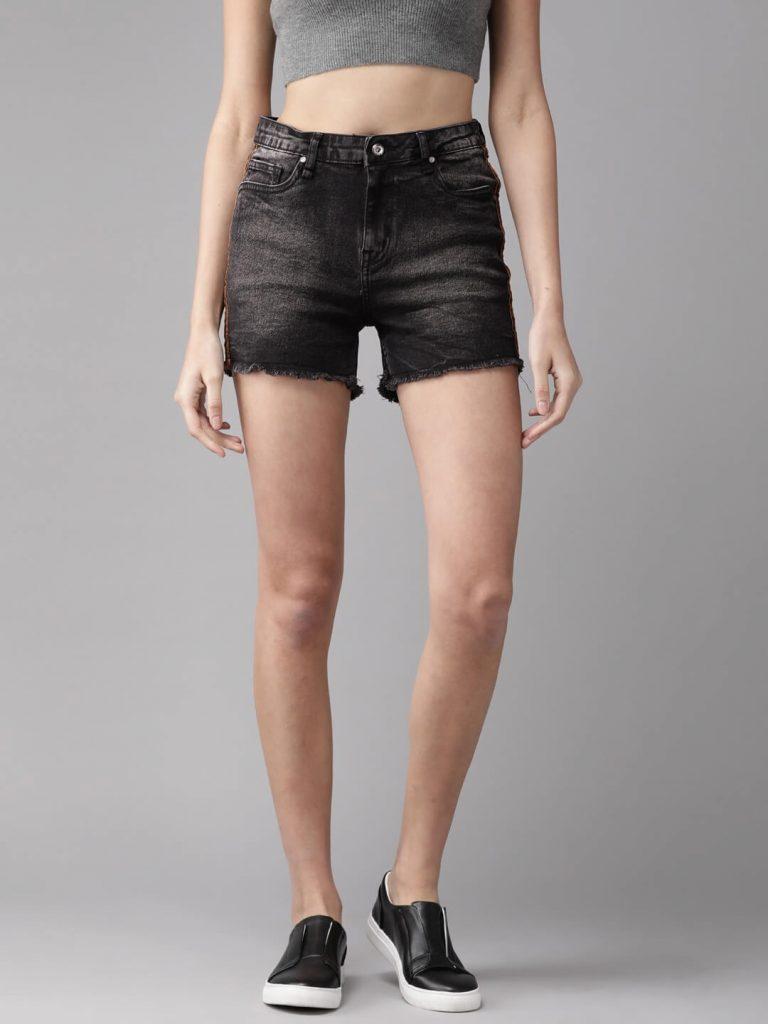 charcoal black denim shorts for men