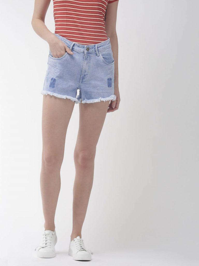 light wash denim shorts for women