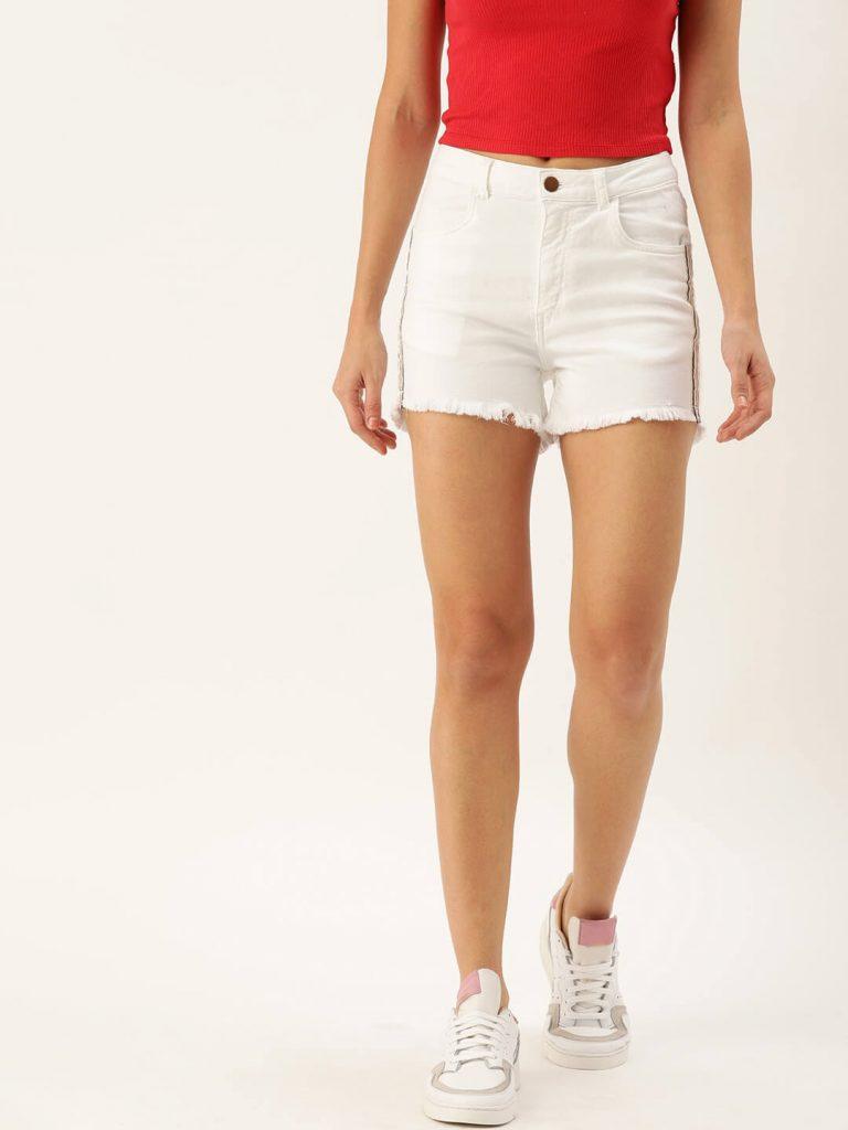 white denim shorts for women